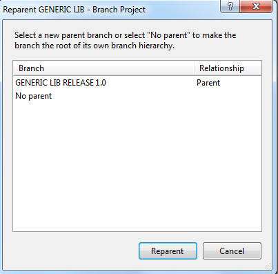 Reparent of a TFS Source Controlled Branch  Why and How