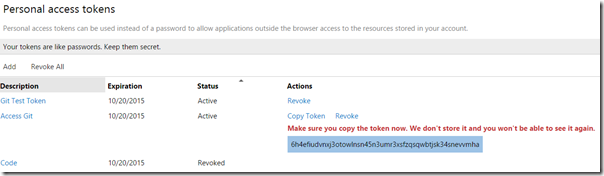Using Personal Access Tokens to access Visual Studio Online | The