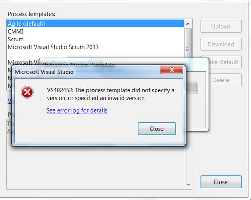 Upload process template to TFS 2015 gives a version error | The Road ...
